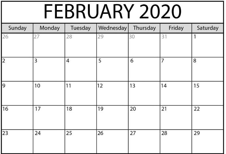 February 2020 Calendar Excel and Word