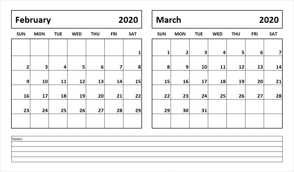 February and March 2020 Calendar