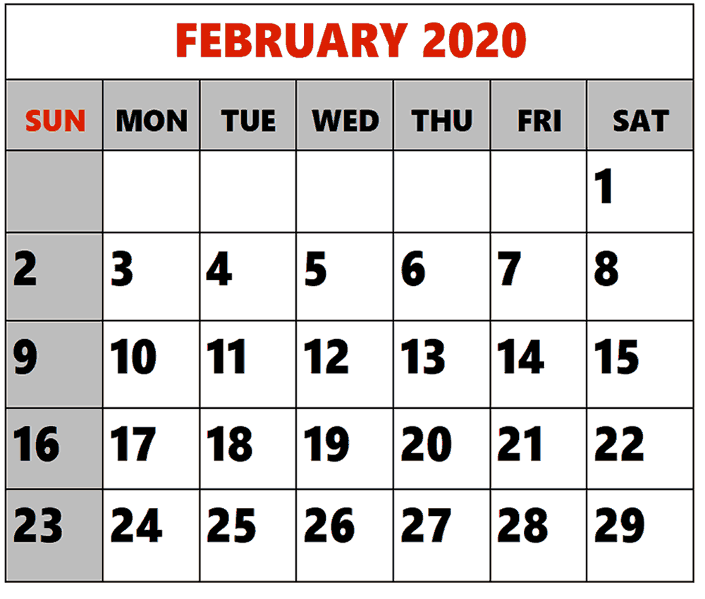 Free February 2020 Calendar Download