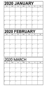 Free January to March Calendar 2020