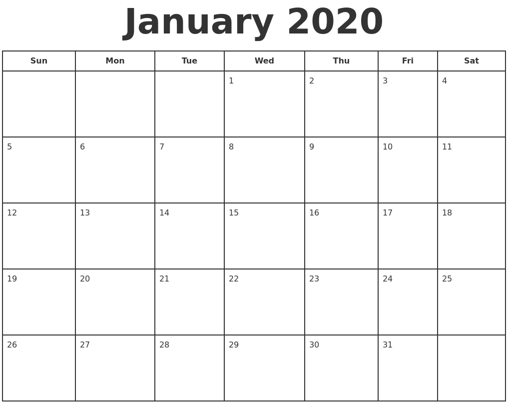 Free Printable January 2020 Calendar Excel