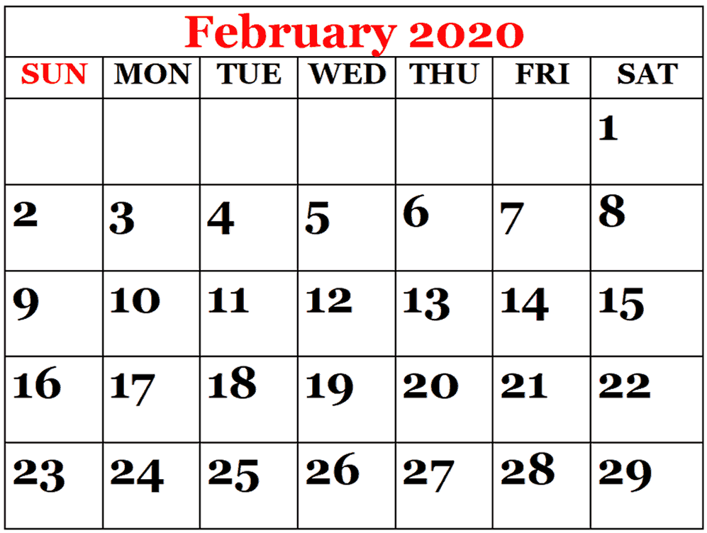 Full Page Printable February Calendar for 2020