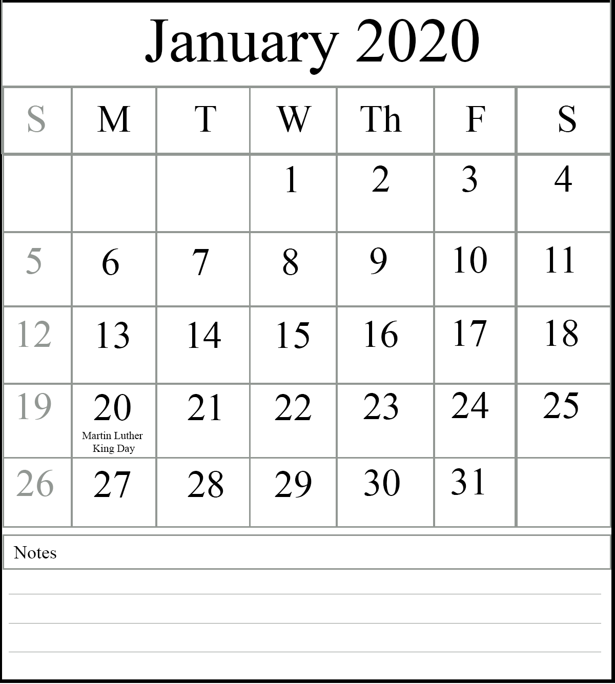 January 2020 Calendar Excel And Word