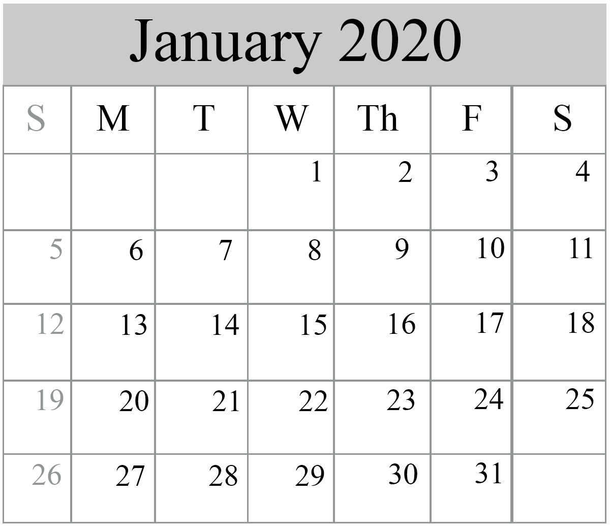 January 2020 Calendar Excel Download