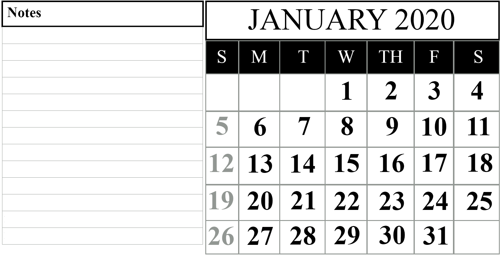 January 2020 Calendar Excel Notes