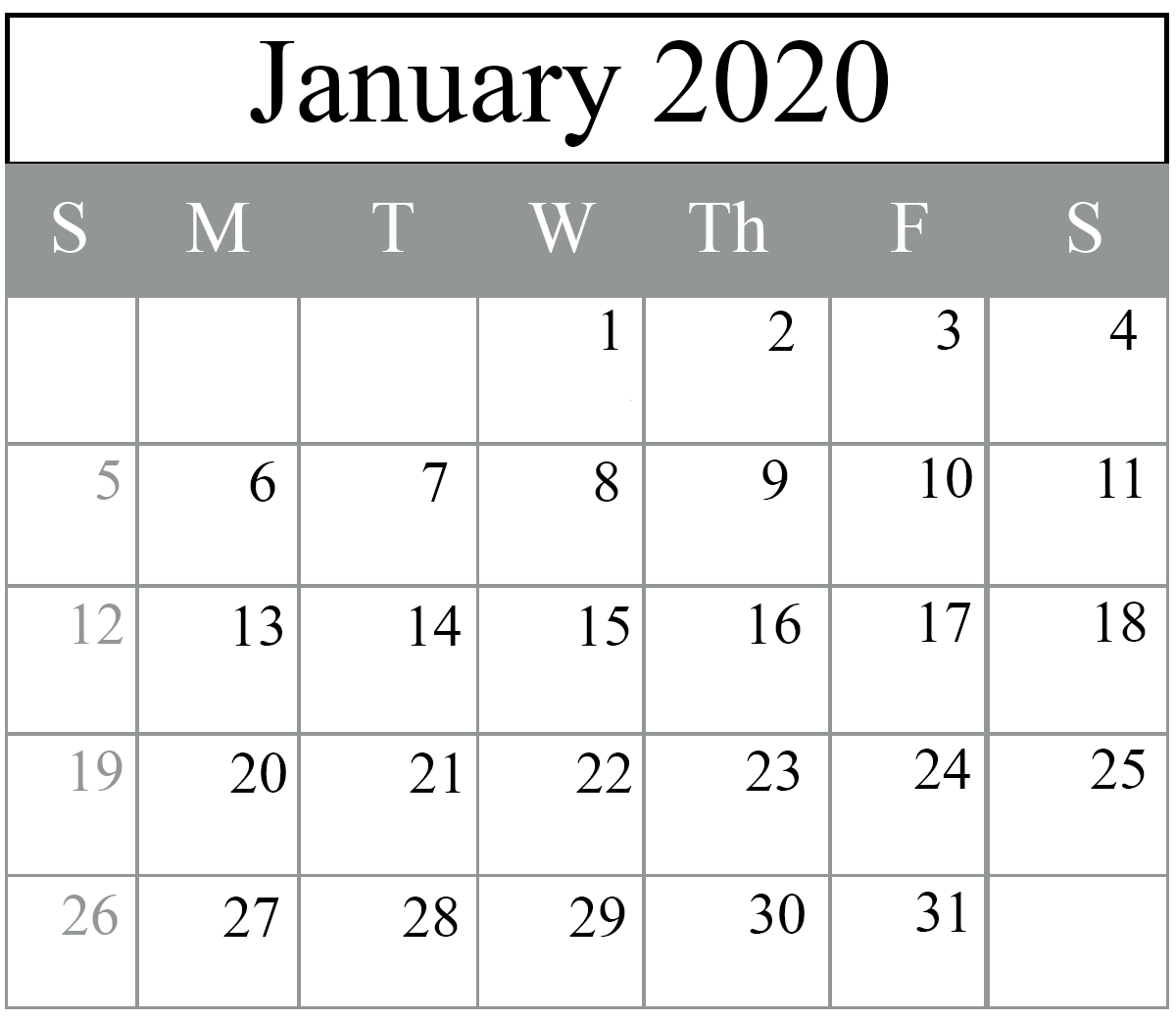 January 2020 Calendar Excel and PDF