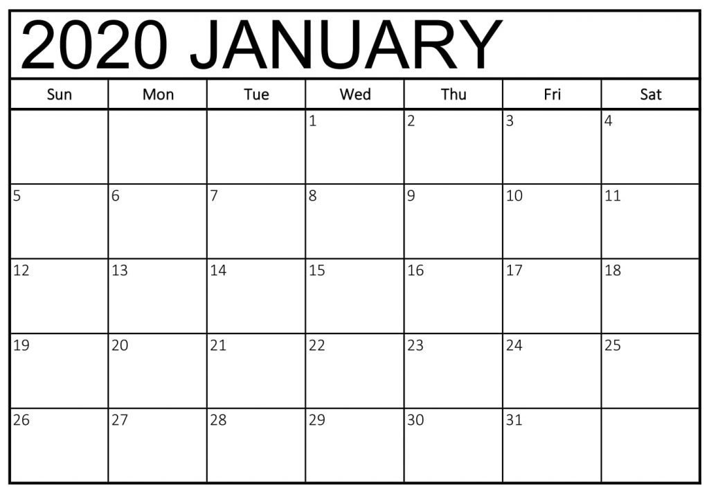 January 2020 Calendar US Printable