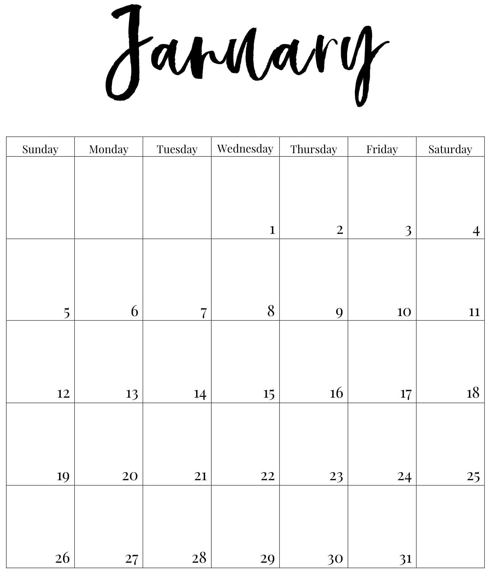 January 2020 Calendar US With Holidays