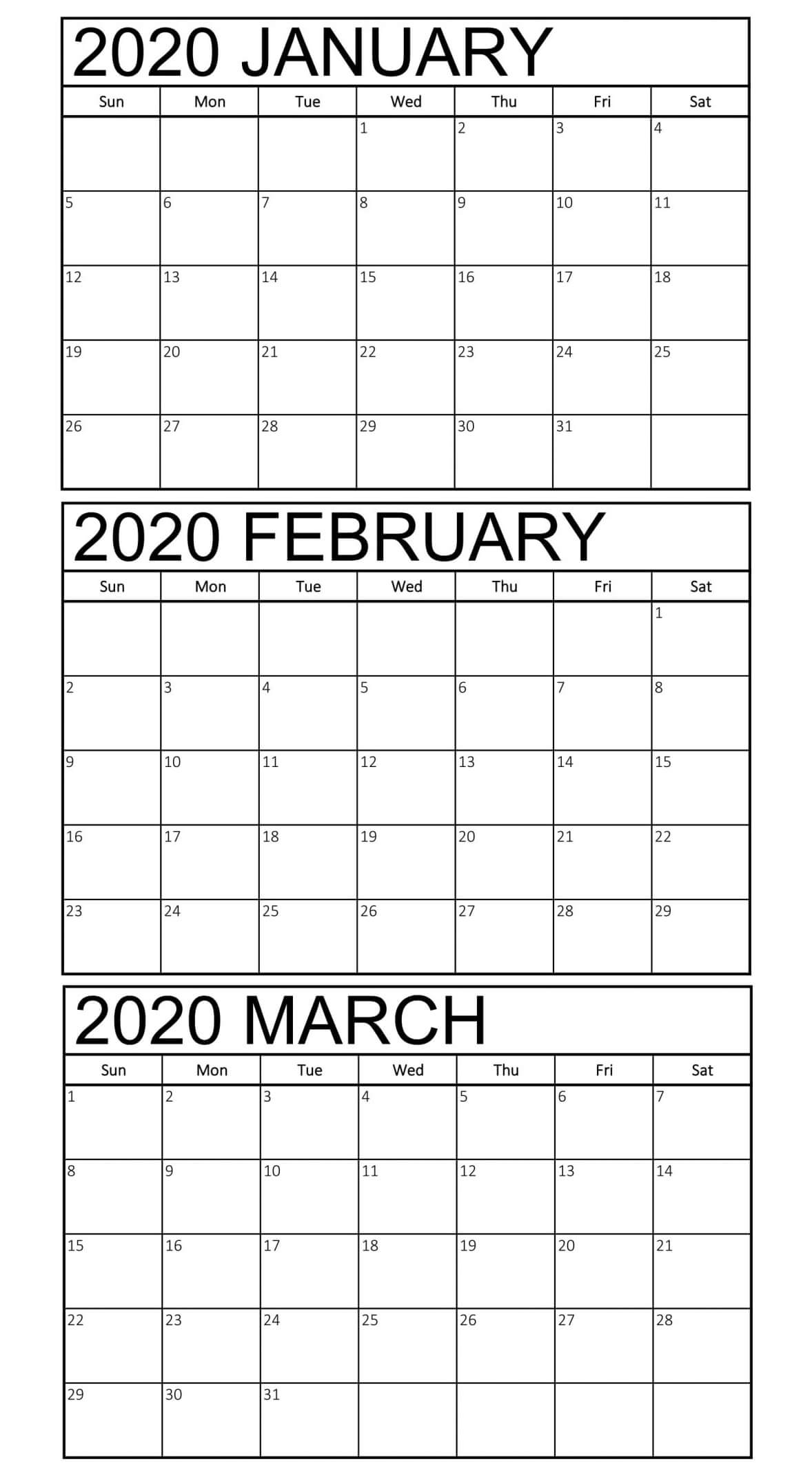 January to March 2020 Calendar Template