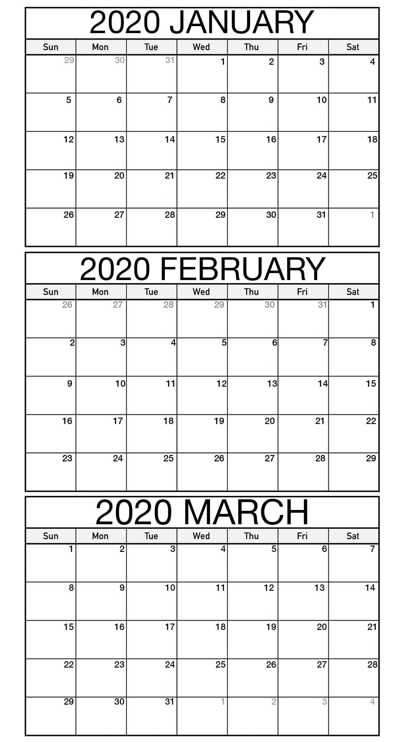 January to March 2020 Calendar