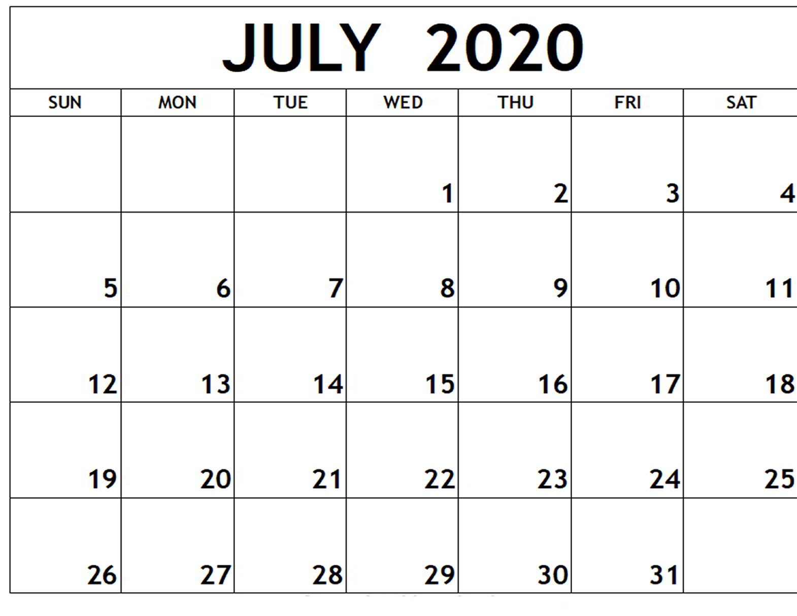 July 2020 Calendar Printable Excel