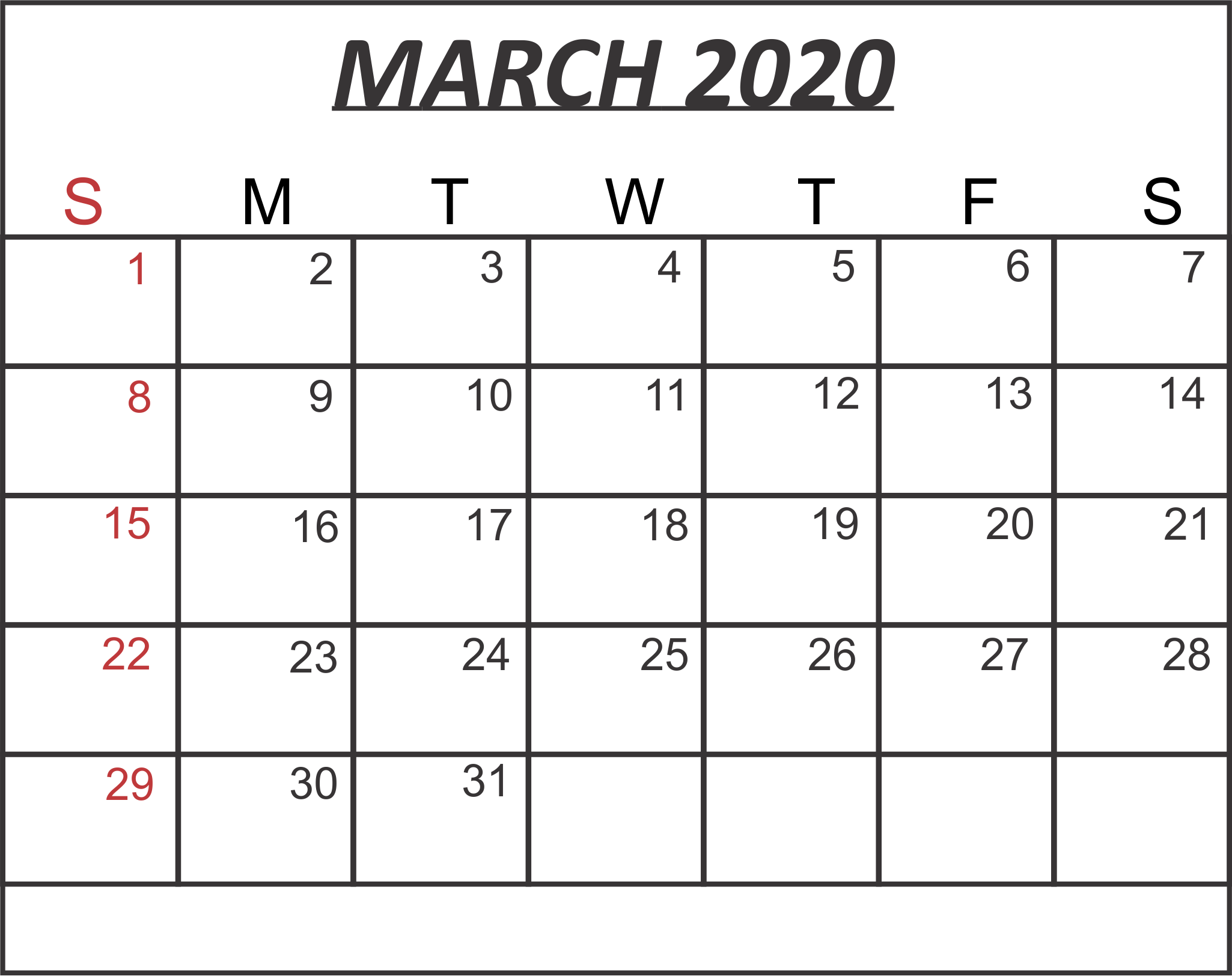 It's just an image of Clean Printable March 2020
