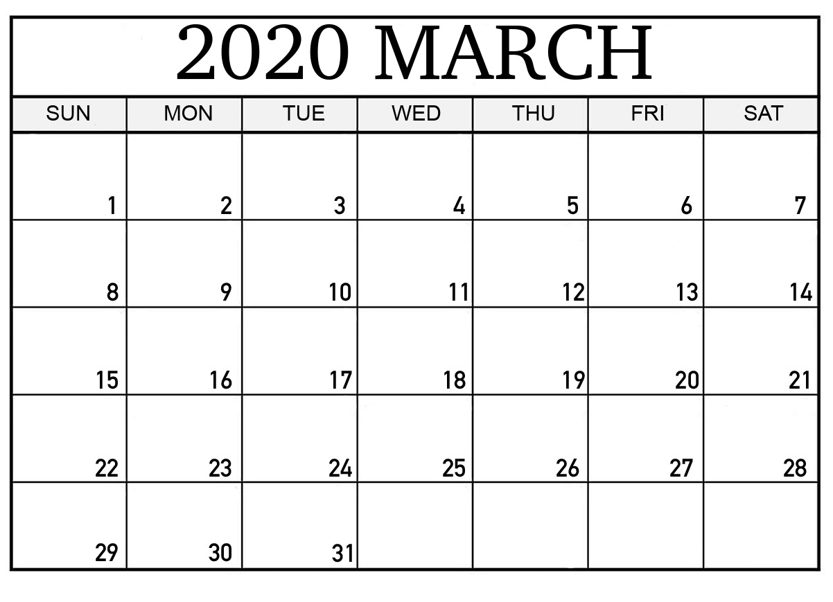 March 2020 Calendar Printable Word