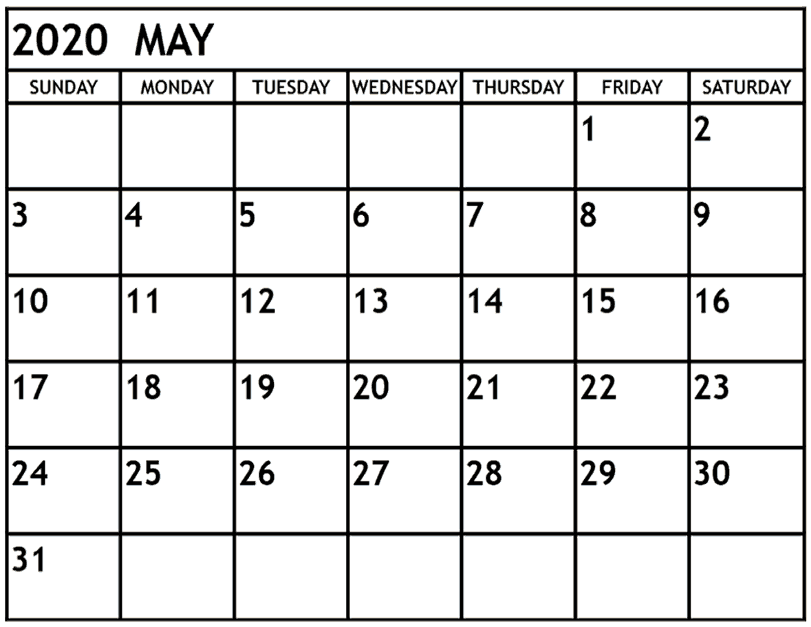 May 2020 Calendar Printable Full Page
