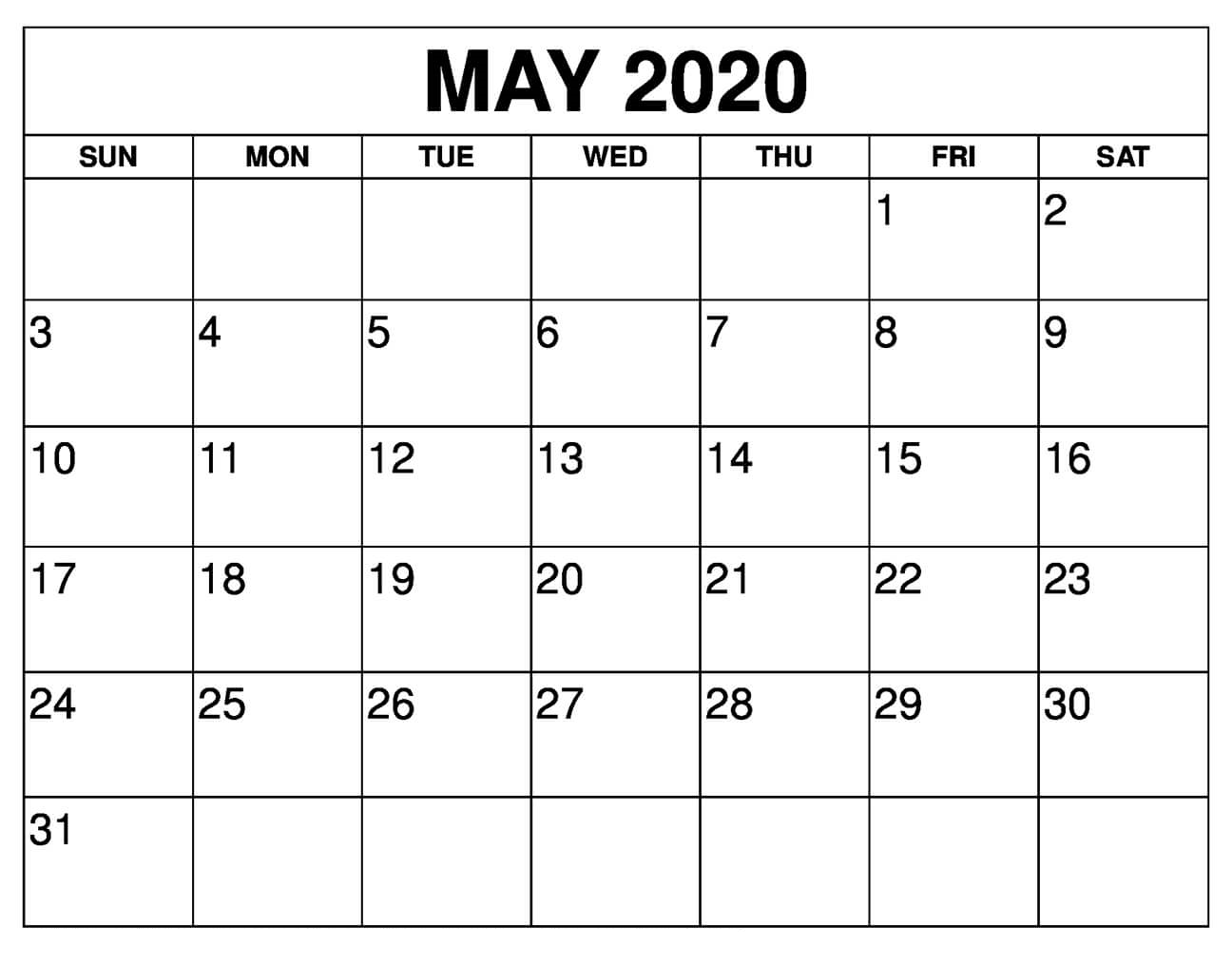 May 2020 Calendar Printable Landscape