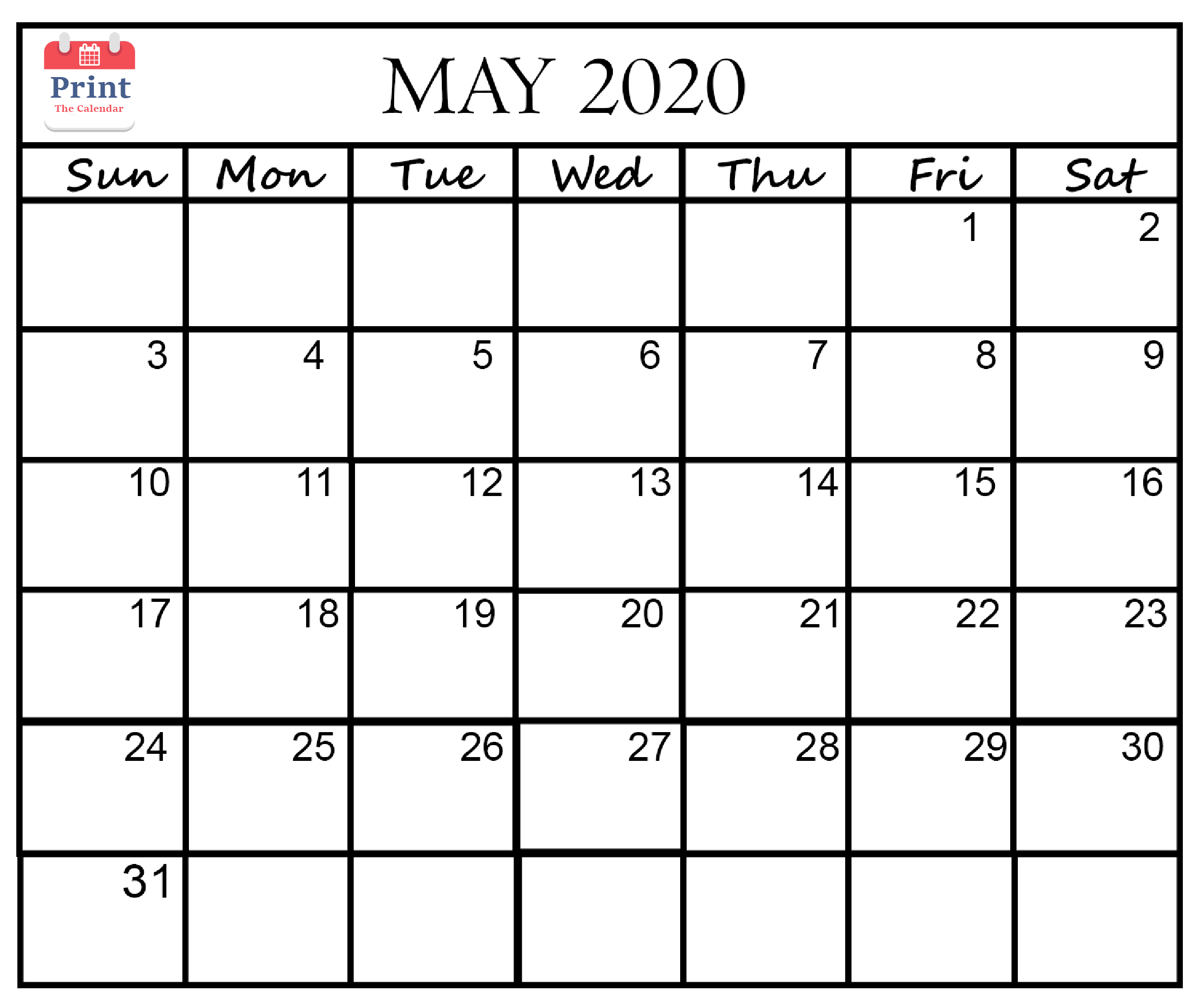May 2020 Calendar Printable Template