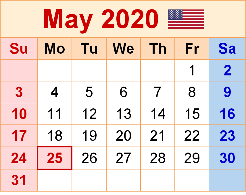 May 2020 Calendar Printable Wall Paper