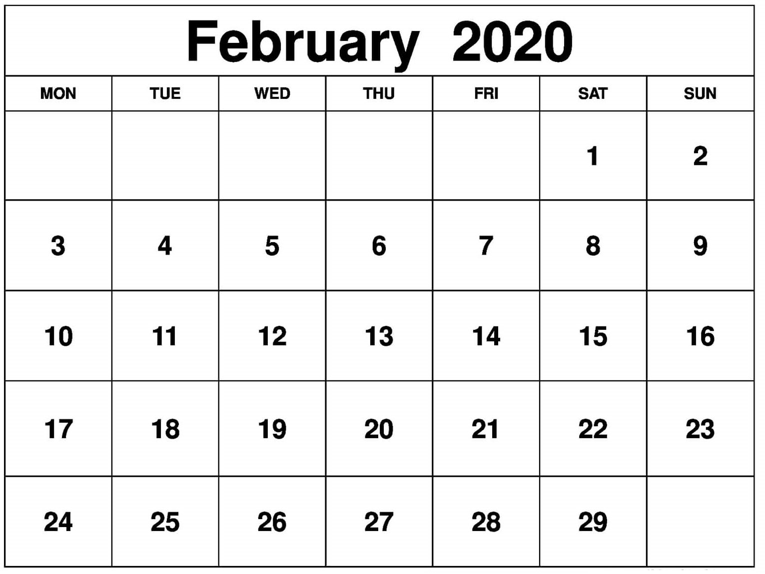 Monthly February 2020 Calendar Word
