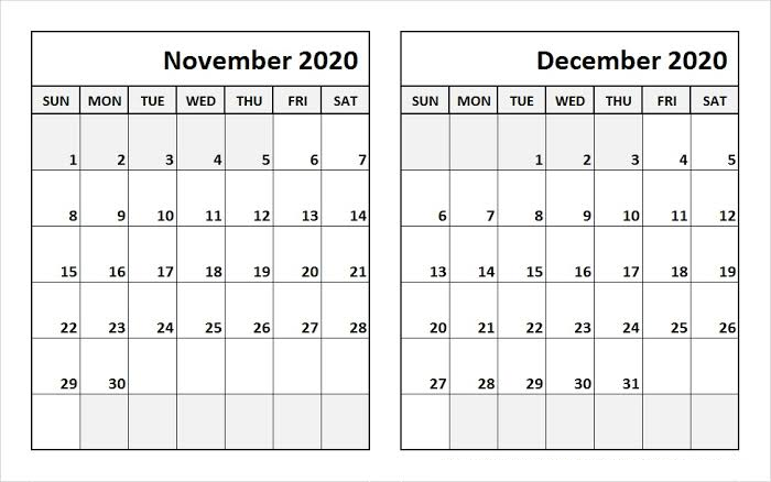Nove Dec 2020 Calendar Free Printable