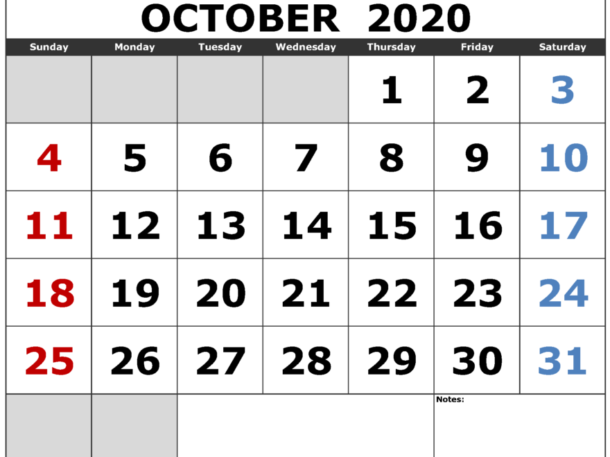 October 2020 Calendar Printable Font Large Center