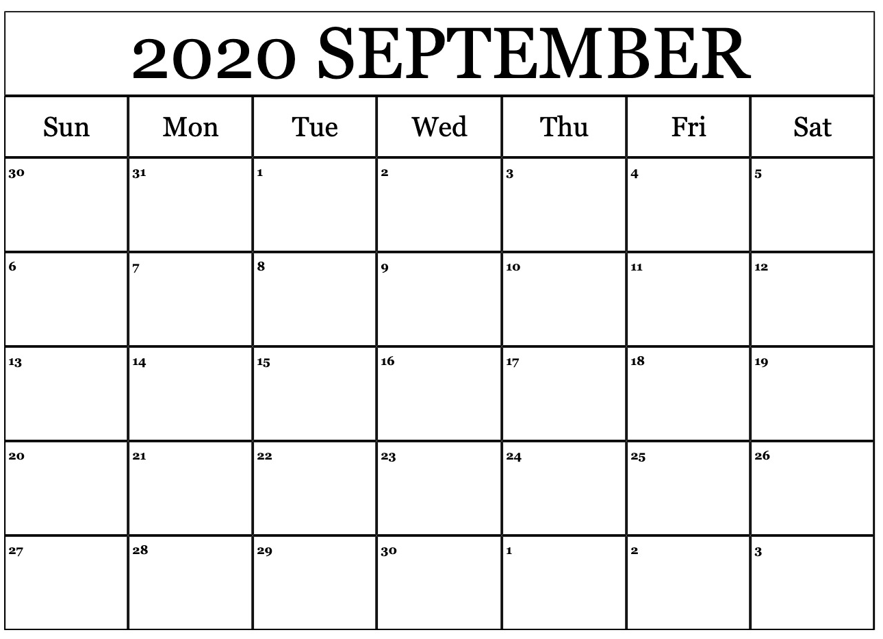 Online September 2020 Calendar Printable