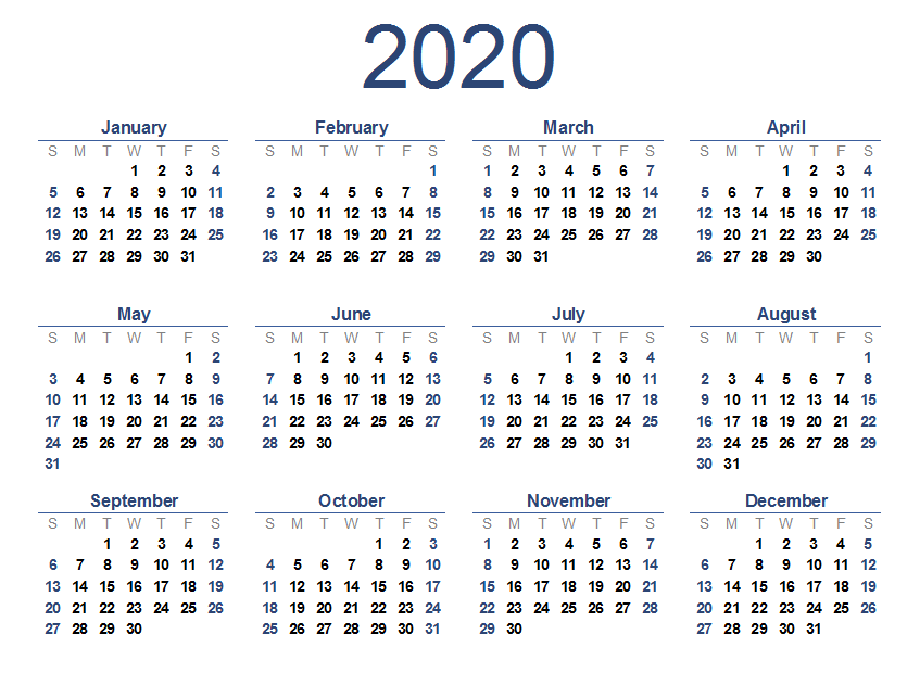 Calendar 2020 Printable.Free Printable 2020 Calendar One Page Template 12 Month