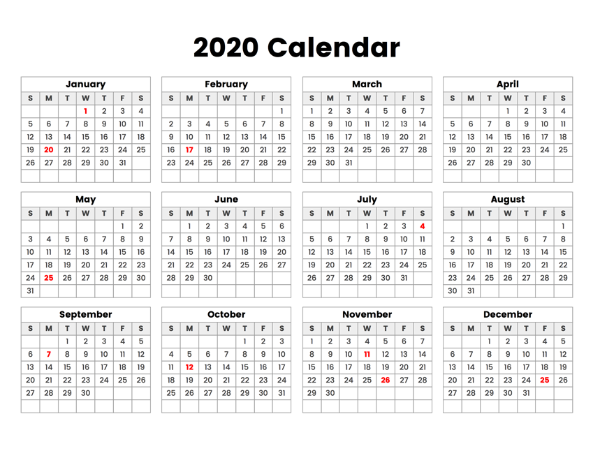 Printable 2020 Calendar Holidays