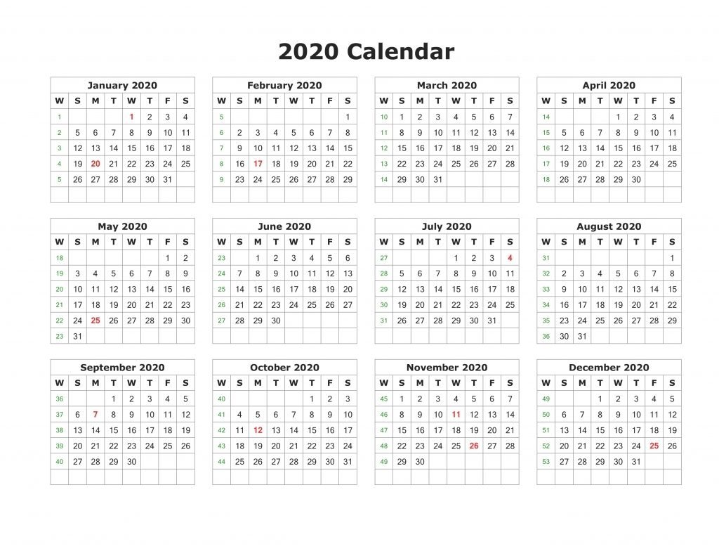Printable 2020 Calendar Horizontal