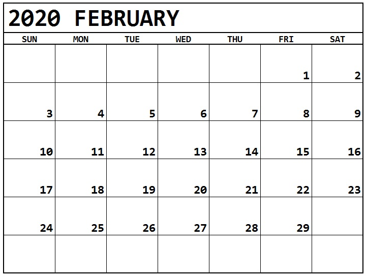 Printable February 2020 Calendar Full Page Free