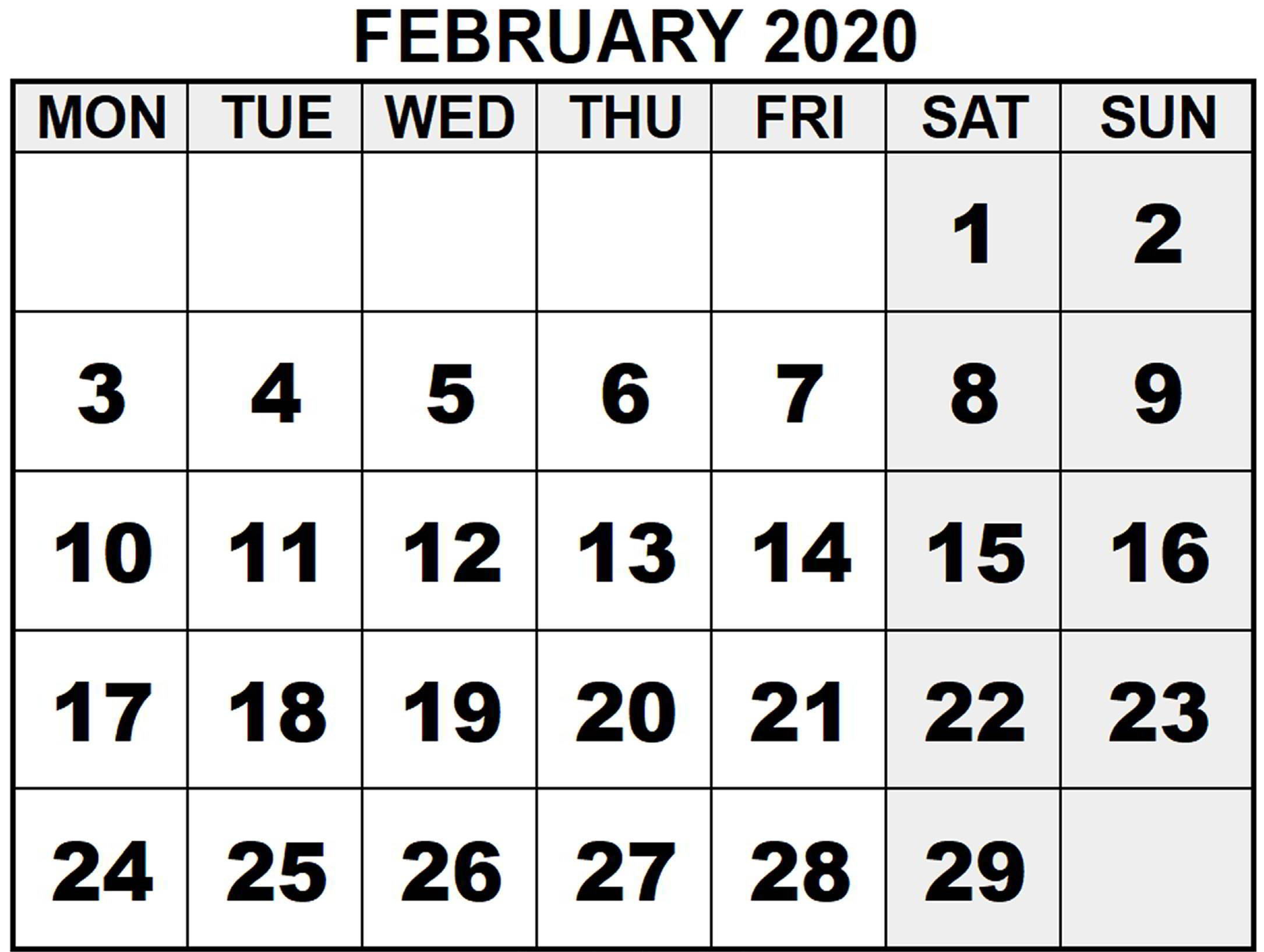 Printable February Calendar for 2020 Download