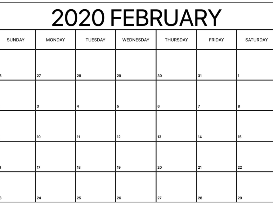 Printable February Calendar for 2020 Vertical