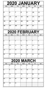 Printable January to March Calendar 2020