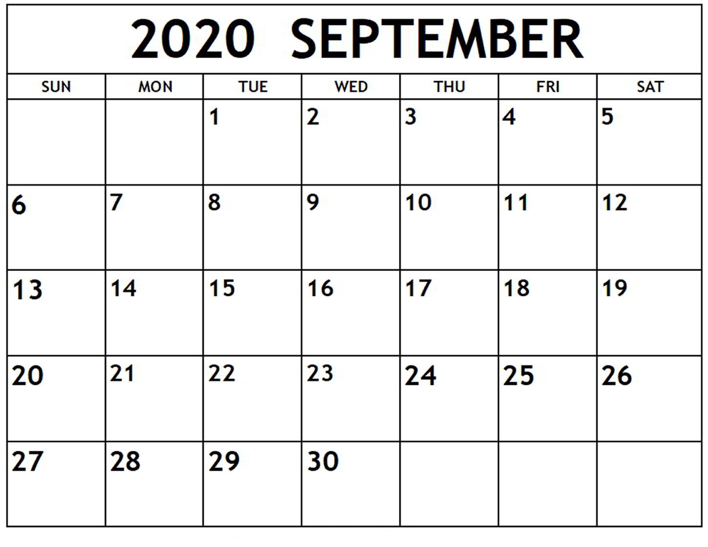 September 2020 Calendar Printable Notes