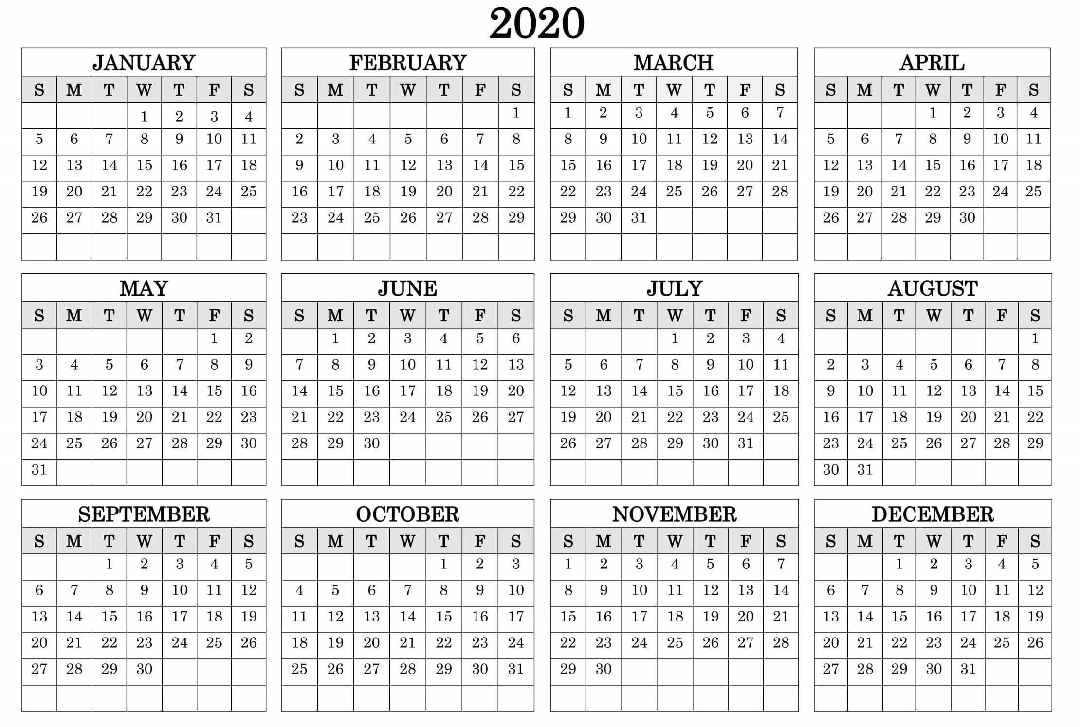 12 Month Yearly Calendar 2020 Template