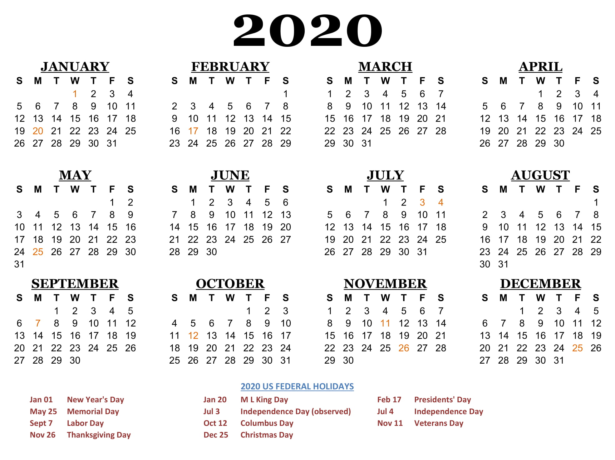 2020 Printable Yearly Calendar.Free Calendar 2020 Printable Yearly 12 Month Printable