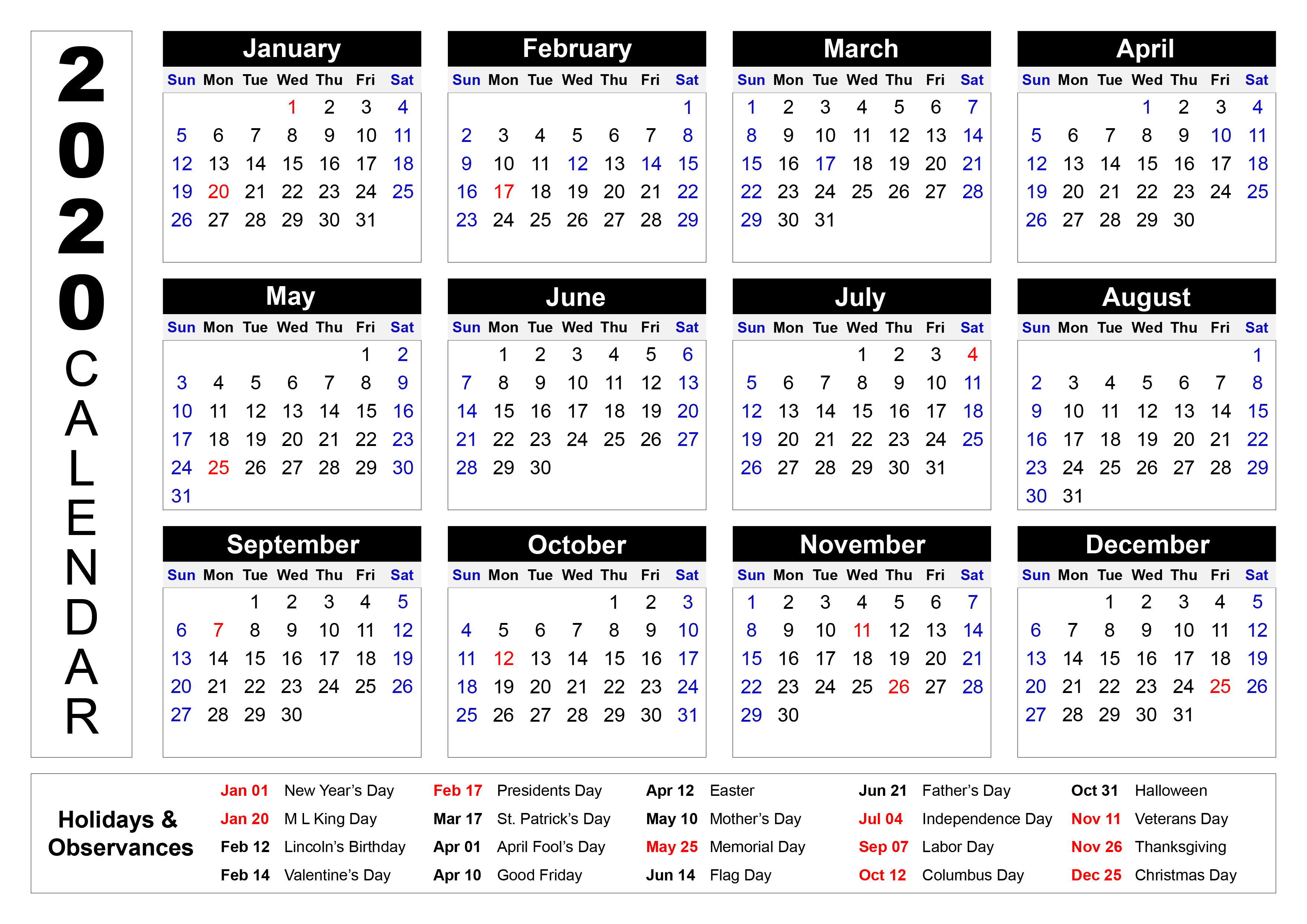 2020 Printable Calendar with Holidays