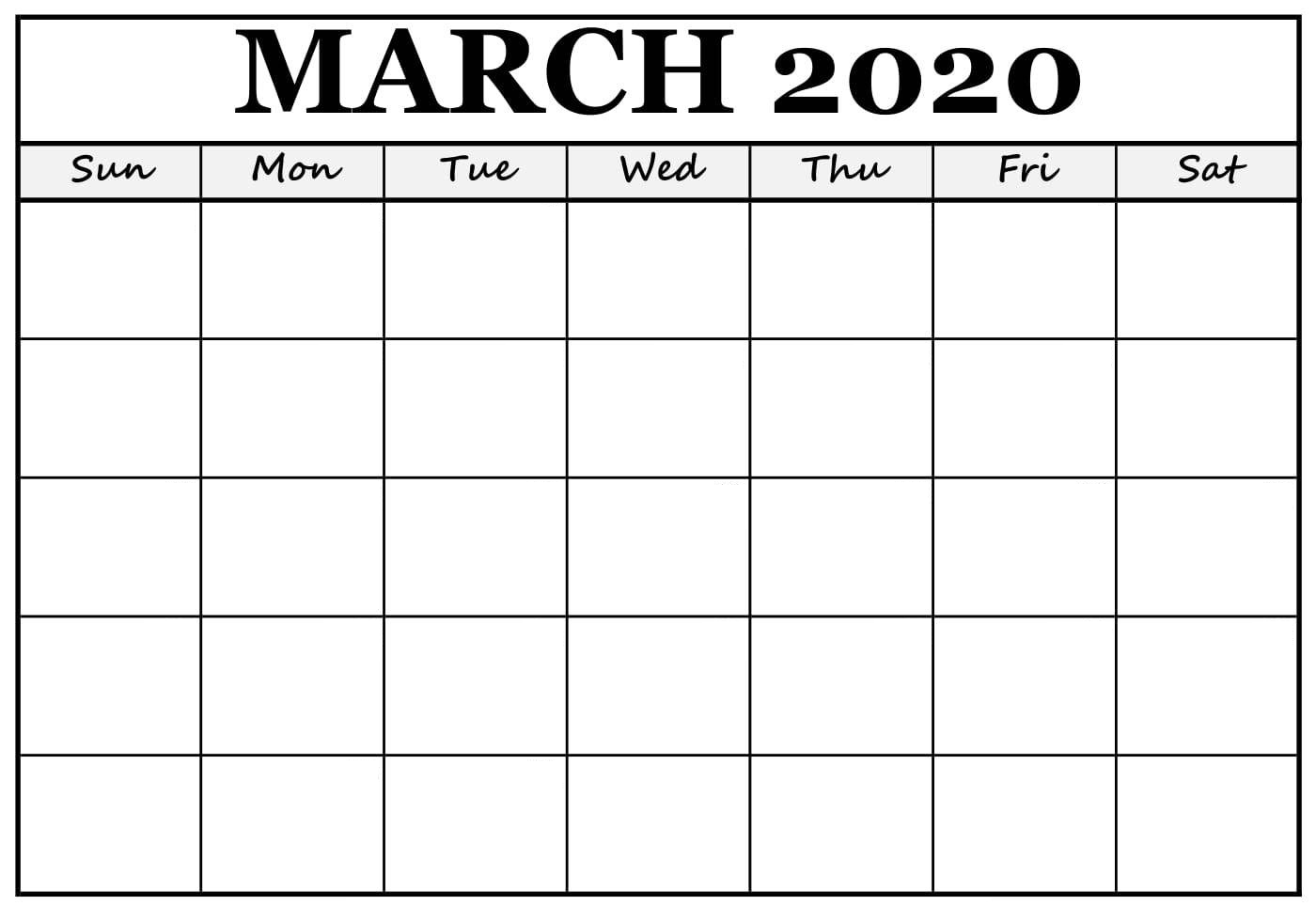 Blank March 2020 Calendar With Holidays