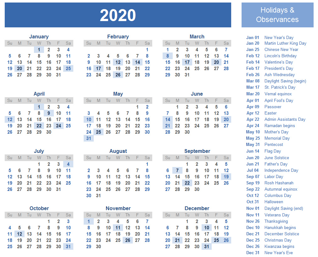 Calendar 2020 with Holidays Download