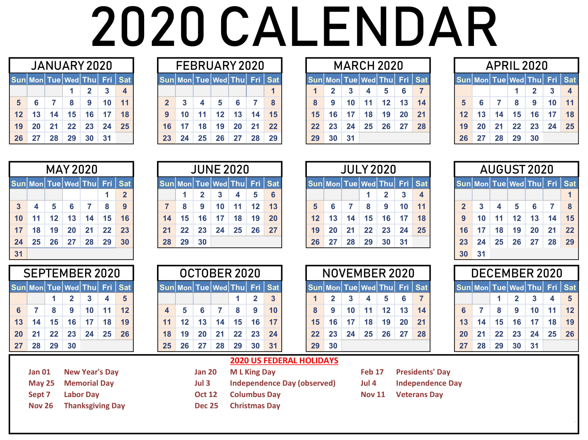 Calendar 2020 with Holidays Free