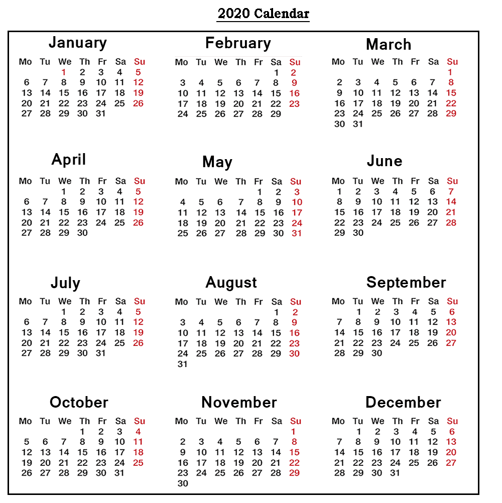 Calendar 2020 with Holidays