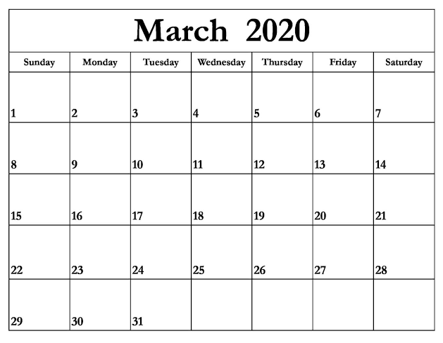 Calendar March 2020 Printable Full Page