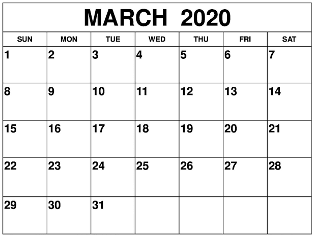 Calendar March 2020 Printable Notes