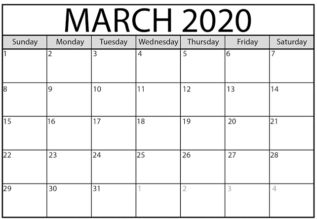 Calendar March 2020 Printable Template