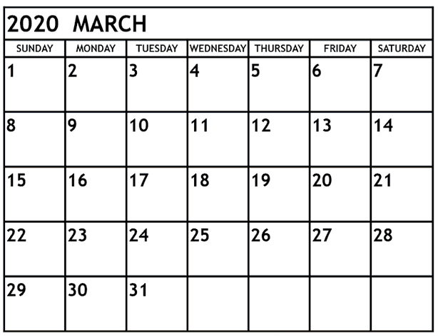 Calendar March 2020 Printable Vertical