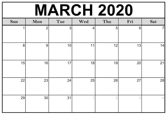 Printable Calendar March 2020.Calendar March 2020 Printable Monthly Planner 12 Month