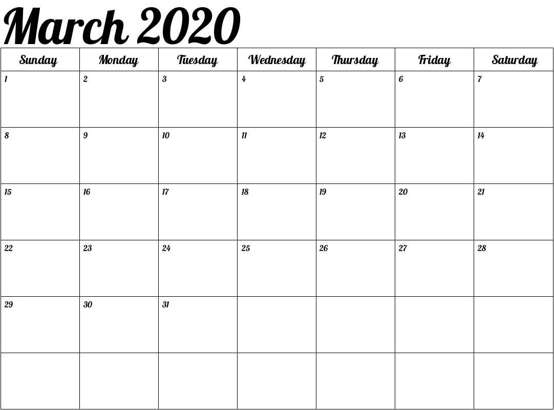 Cute March 2020 Calendar US