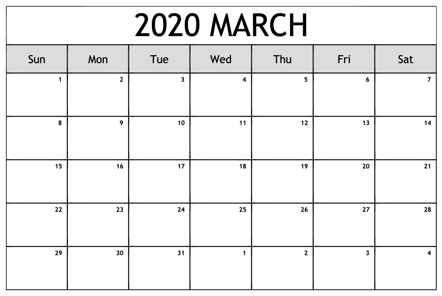 Download March 2020 Calendar With Holidays