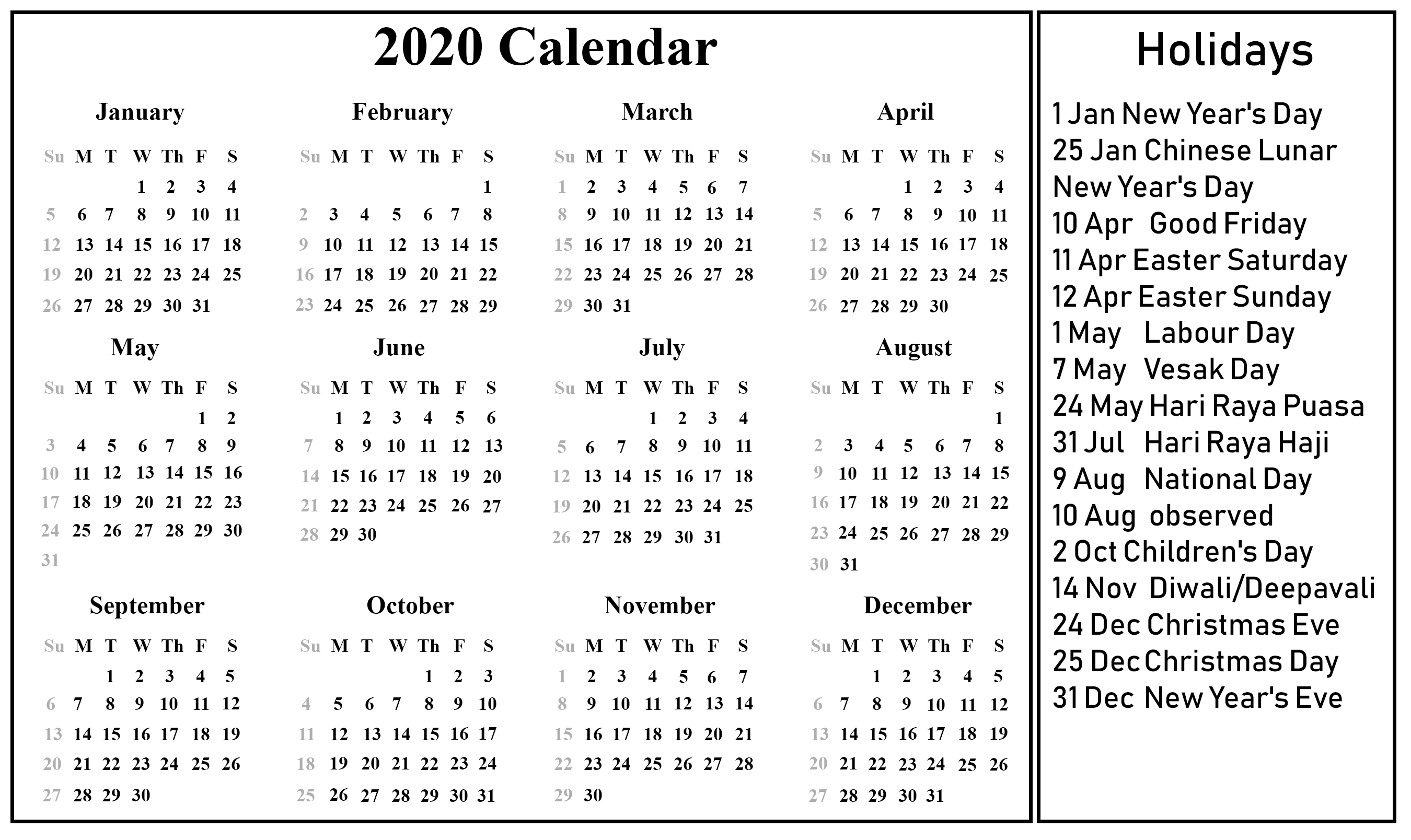 Editable Calendar 2020 with Holidays