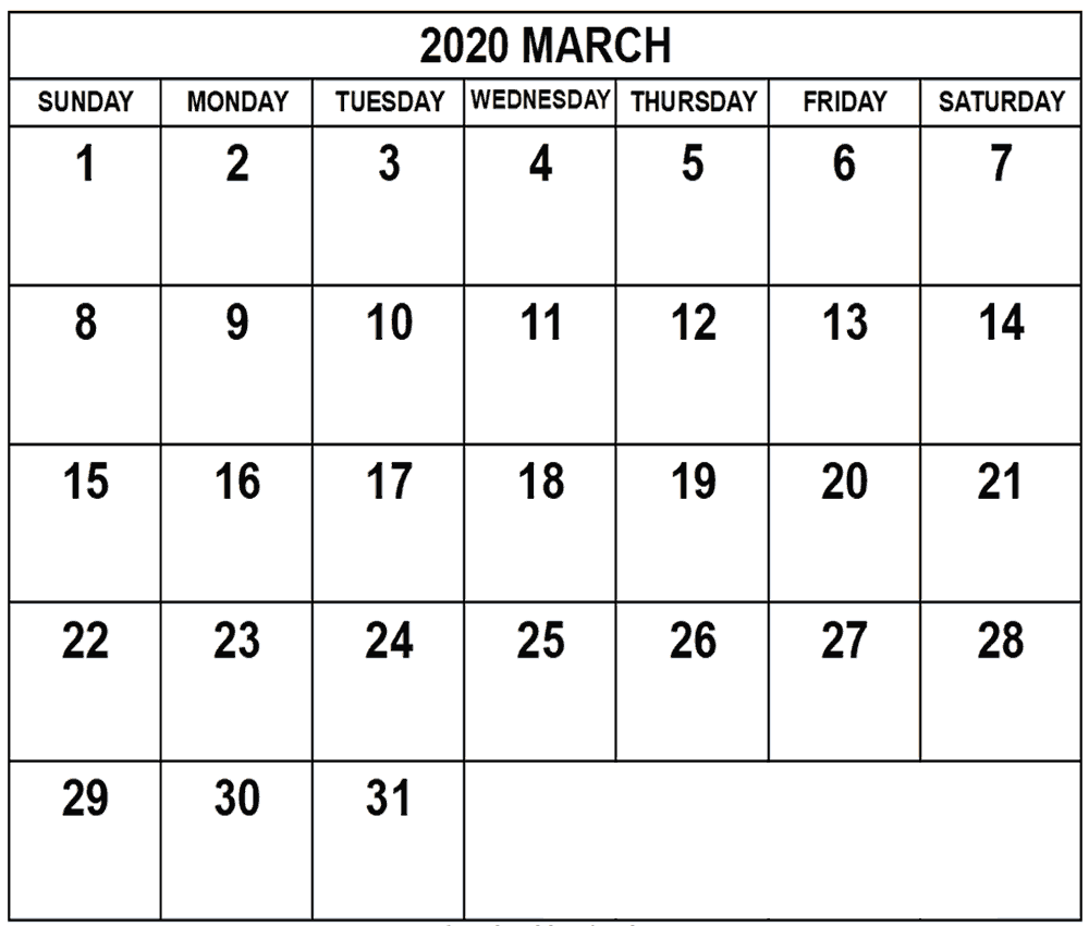 Free March 2020 Calendar With Holidays