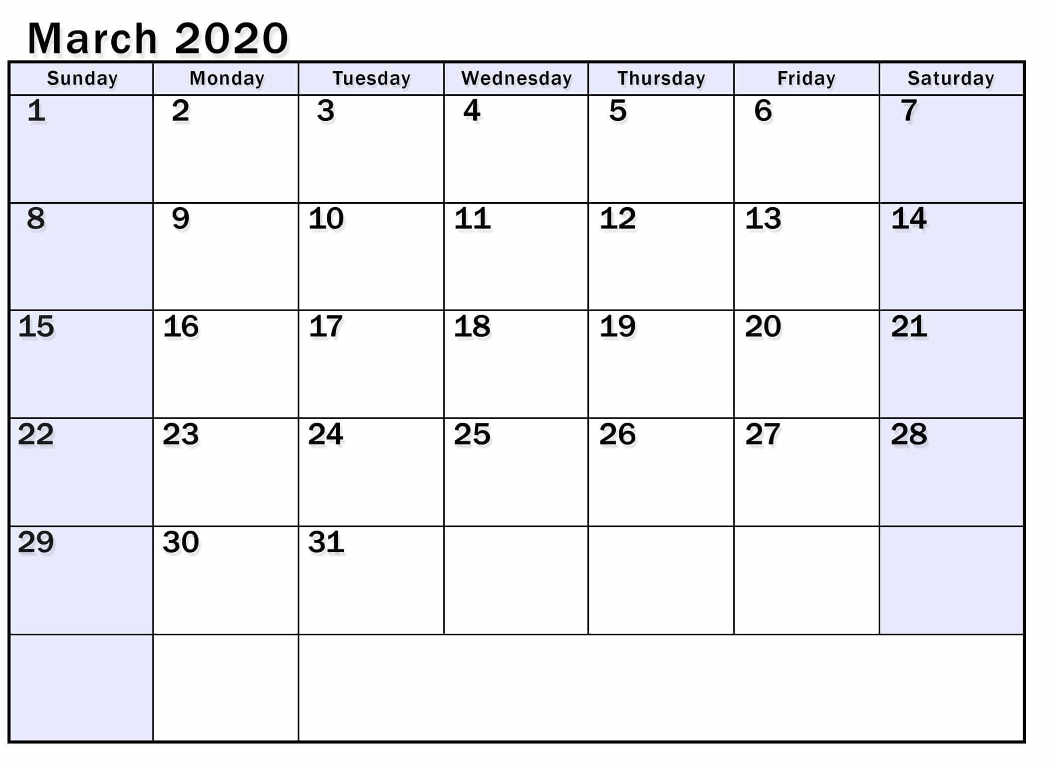 March 2020 Calendar For UK